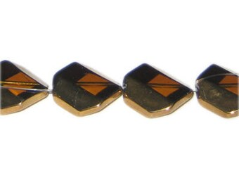 18mm Deep Gold Vintage-Style Glass Bead, approx. 4 beads