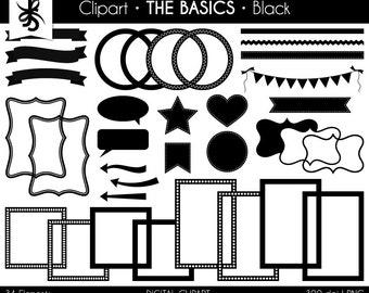 Digital Clipart-The Basics-Black-Black Digital Elements-Frames-Arrows-Flags-Banners-Labels-Stitches-Ribbon-Borders-Instant Download Clip Art