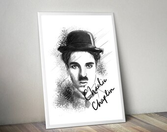 Charlie Chaplin Gliceé Art/Canvas Print [Limited Edition]