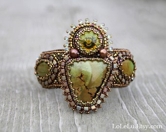 Bead Embroidered Bracelet Cuff with Natural Turquoise Cabochons - in Olive and Gold Colors