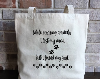 Animal Rescue Gift - Animal Shelter - Animal Lover - Cat Mom - Dog Mom - Pet Adoption - Pet Rescue - Animal Rescuer - Large Canvas Tote Bag