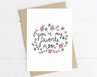 Funny mothers day card // you're my favourite mum