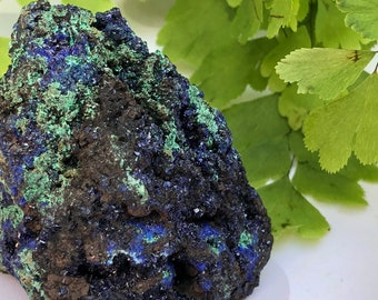 Blue Green Moroccan Azurite Crystal Specimen - One of a kind mineral!