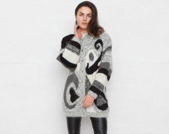 Vintage Grey Black Cardigan/ Size 38 or Medium