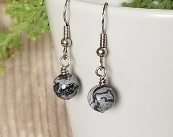 Single Bead Crazy Lace Agate Earrings - Gemstone Earrings - Hanging Earrings