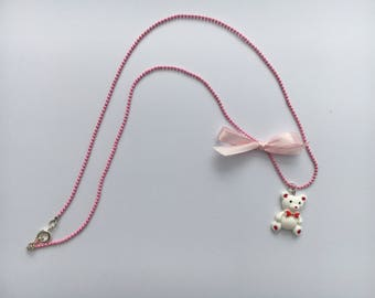 Child white Teddy bear necklace