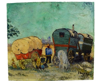 Antique French Oil Painting on Board Signed - Gypsies Family Trailer Painting - Postimpressionist Belle Epoque 1920's Wall Art