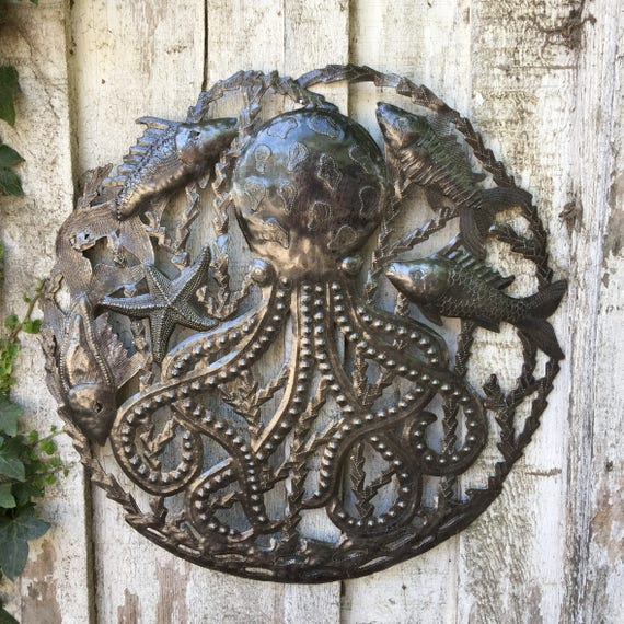 "Octopus with Fish, Recycled Metal Ocean Wall Art, Haitian Art indoor outdoor 23"" x 23"""