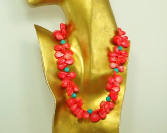 Coral Colored Tab Necklace