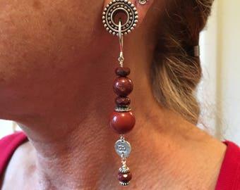 Ohm tunnel earrings in jasper, sterling
