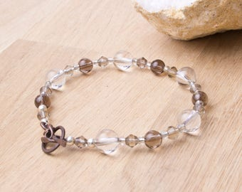 Quartz bracelet - Smoky quartz and clear quartz crystal beaded bracelet | Gemstone jewellery | Bead jewelry | Copper toggle clasp