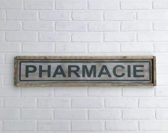 """PHARMACIE SIGN   7"""" x 33.25""""   framed wood sign   hand made   hand painted   farmhouse decor   farmhouse sign   pharmacy sign"""