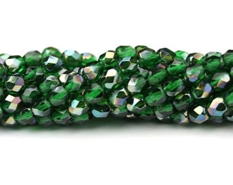 Czech Glass Beads Fire Polished Faceted Rounds 4mm Emerald Celsian (50) CZF661