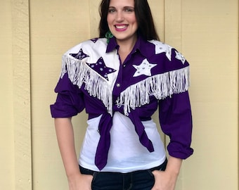 Vintage 1980s BLUE CANYON Western Wear purple fringe 'star struck button-down blouse, size Large