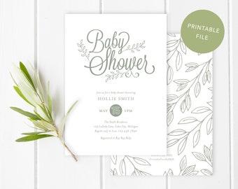Printable baby shower invitation   Green botanical baby shower invite - Garden baby shower - Gender neutral design - Nature theme - Digital