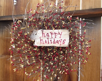 Happy Holidays Wreath - red cream - Door Wreath - Door Decor