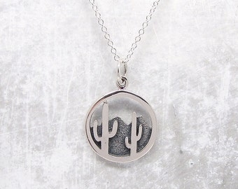 Cactus & Mountain Pendant Necklace - Silver Necklace - Outdoors Jewelry - Saquaro Necklace