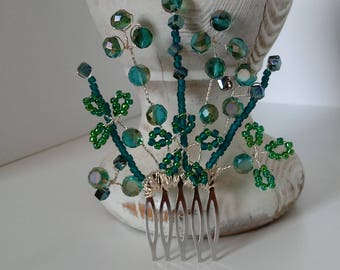 Turquoise blue and green crystal hair comb