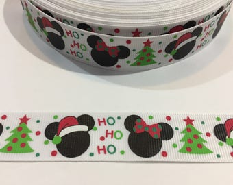 3 Yards of Ribbon - Inspired by Mickey Mouse Christmas Ho Ho Ho 7/8 inch Wide