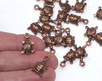 Copper Turtle Charms, 2+ TierraCast Antiqued & Plated Pewter, Turtles Forest Pond Animals Reptiles Tortoise