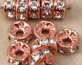 Bead, Rose Gold Rhinestone Rondelle, 5mm Crystal, 6 Pc. RG31