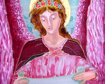 Handpainted  Silk Original batik  painting Rosy Angel  motives classic painting .