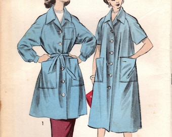 1950s Advance 7977 UNCUT Vintage Sewing Pattern Misses Smock, Duster, Housecoat Size Small