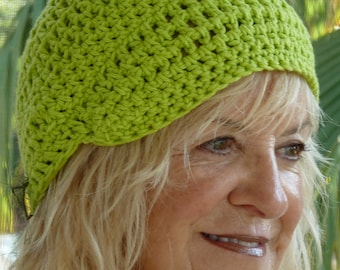 Women's chemo hat, lime green handcrafted crochet newsboy, women's head accessories, all cotton hat, free shipping USA, gift for her