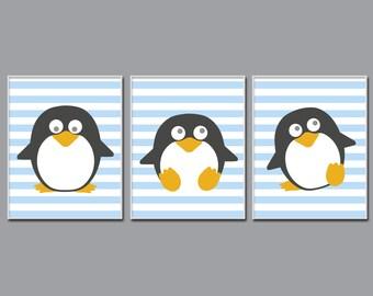 Penguin Nursery Art Print, Baby Boy Nursery Art, Blue Nursery Art, Baby Boy Nursery Wall Art Print and Bedroom Decor H903