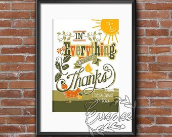 In everything give thanks, wall printable art instant download