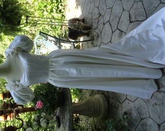 Ada Athanassiou Satin Off Shoulder Victorian Styled Wedding Gown