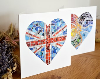 Mosaic Heart Greetings Cards - Set of two
