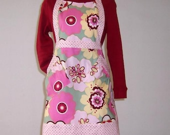 Pink Floral Womans Apron, Yellow Full Apron, Womans Maroon Apron With Pink Dot Contrast, Cute Womans Kitchen Apron, Gift for the Kitchen