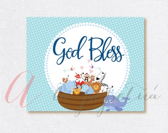 Noah's Ark sign. Noah's Ark Baptism .Baptism sign. Printable Baptism sign. God Bless sign. God Bless printable.