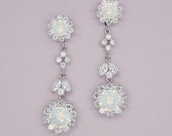 Clip on Earrings - Clip on Bridal Earrings - Clip on Wedding Earrings - Swarovski White Opal Crystal  Jewelry- Clip on Chandelier earrings