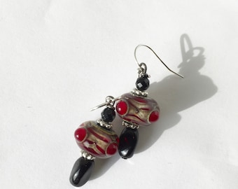 Red Lampwork, Black glass, Gold fill earrings, Lilyb444