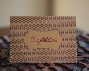 Bown and Purple Congratulations Letterpress Card