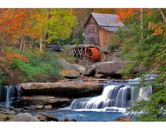 Glade Creek Grist Mill, West Virginia, Autumn Colors, Gallery-wrapped Fine Art Photograph on Canvas, Metal, Picture, Ready to Hang Wall Art