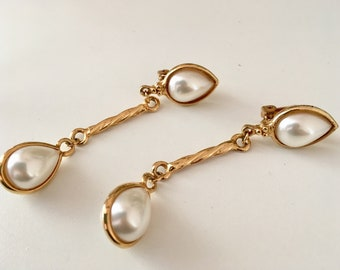 A lovely pair of vintage gold tone and faux pearl drop earrings C 1960s