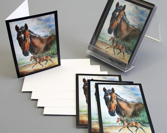 Note card bay horse watercolor Painting Rigel's Storm by Kristine Plum in quantities of 4, 6 or 12