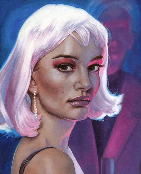 ORIGINAL PAINTING Actress Natalie Portman in Pink Wig Closer натали портман фильмы