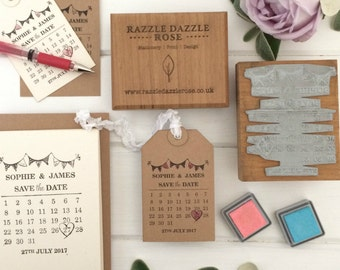Personalised Save the Date Wedding Rubber Stamp - Bunting Design