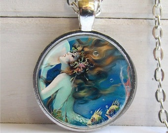 Mermaid Pendant, Mermaid Necklace, Art Pendant, Mermaid Jewelry, Fantasy Jewelry