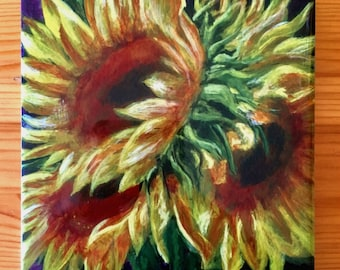 flower tile, sunflower, original art tile