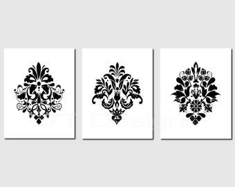 Black White Prints, Damask Print Set, Damask Designs, Bedroom Decor, Guest  Room