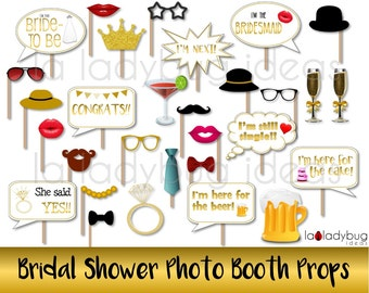 Bridal shower photo booth props. Printable. Golden. DIY Bachelorette selfie station picture proprs. Instant download. PDF Digital file.