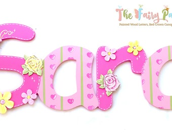 Pink Floral Painted Letters - Butterfly Nursery Letters - Floral Letters - Painted Wood Letters - Pink Nursery Letters - Pink Wood Letters