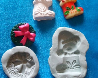 molds silicone cat in Santa boot and Crown