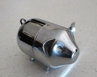 Silver Plated Vintage Piggy Bank 2-Piece Collectible 1970