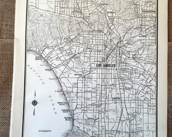 Antique Map of Los Angeles. LA City Map. 1937 Historical Print, Lithograph Framing. 79 Year Old Map of Los Angeles, California to Frame.